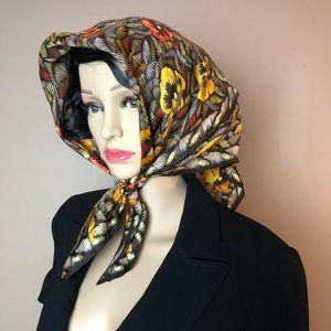 Vintage Leo Narducci Silk Floral Scarf Hair Head